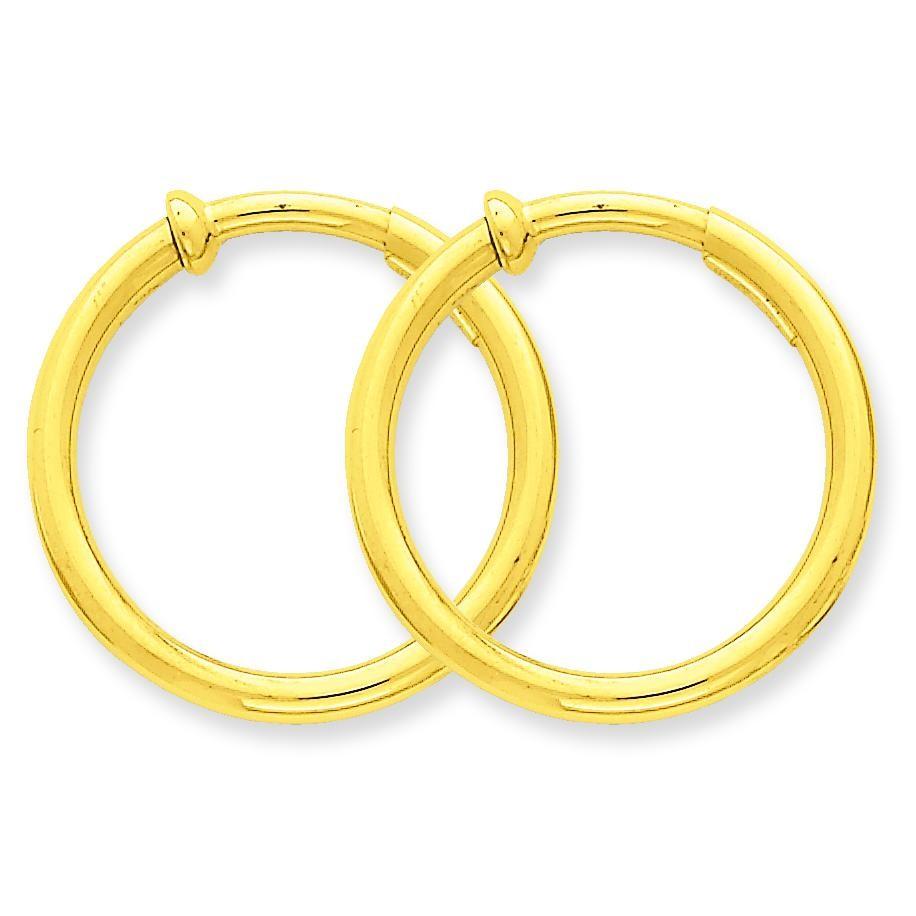 Non-Pierced Hoops Earrings in 14k Yellow Gold