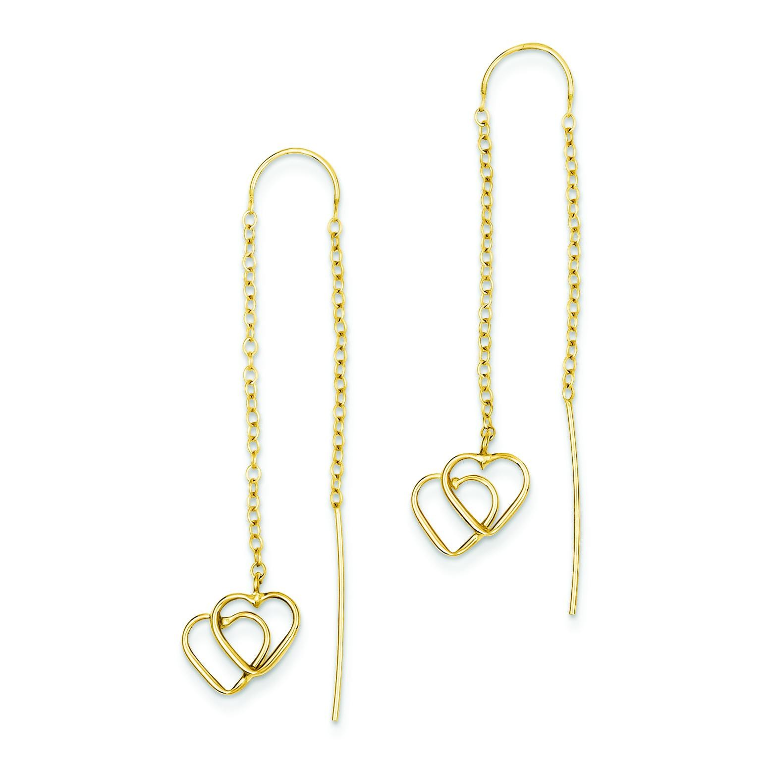 Double Heart Threader Earrings in 14k Yellow Gold