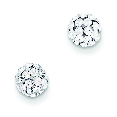 Round Crystal Post Earrings in 14k Yellow Gold