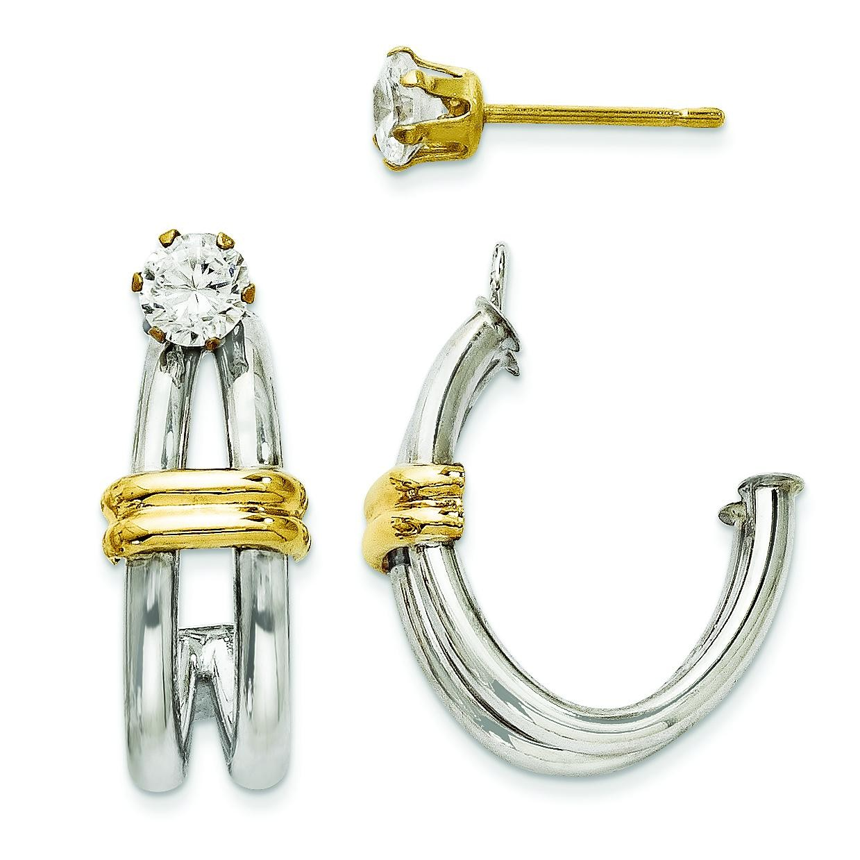 J Hoop With CZ Stud Earring Jackets in 14k Two-tone Gold