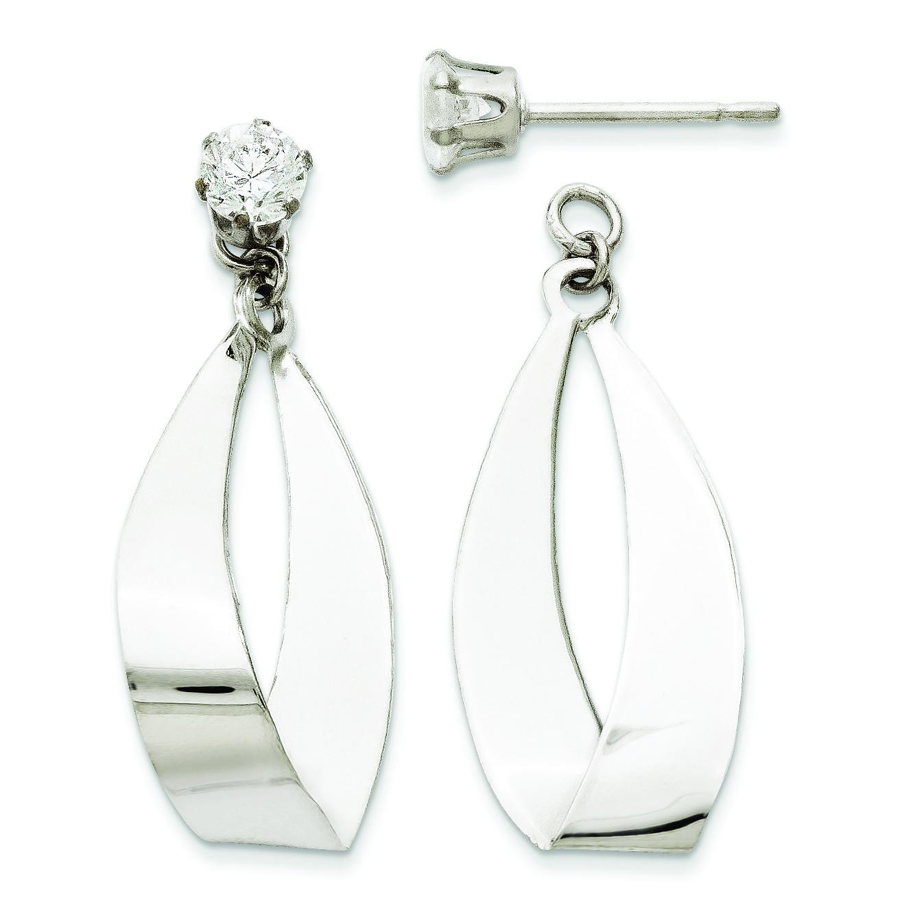 Oval Dangle With CZ Stud Earring Jackets in 14k White Gold
