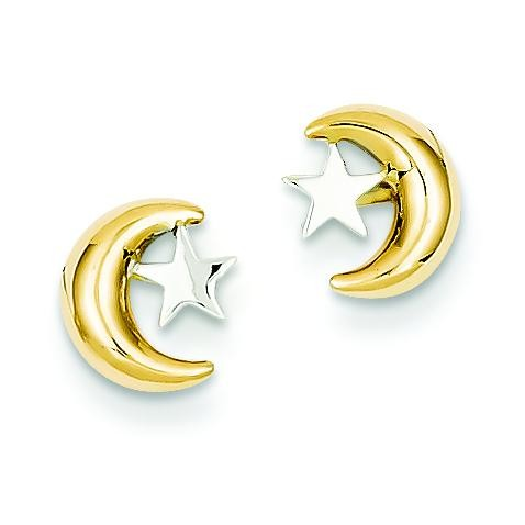 Rho Moon Star Post Ear in 14k Yellow Gold