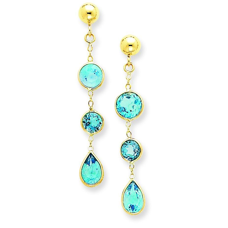 Blue Topaz Gemstone Dangle Earrings in 14k Yellow Gold