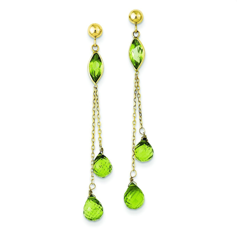 Peridot Dangle Earrings in 14k Yellow Gold