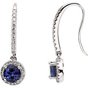 Tanzanite Diamond Earrings in 14k White Gold (0.375 Ct. tw.) (0.375 Ct. tw.)