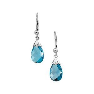 Blue Topaz Earring in 14k White Gold