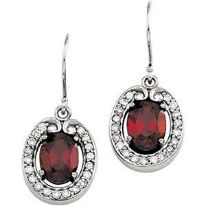 Diamond Gemstone Earrings in 14k White Gold (0.375 Ct. tw.) (0.375 Ct. tw.)