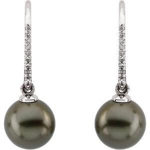 Tahitian Pearl Diamond Earrings in 14k White Gold (0.125 Ct. tw.)