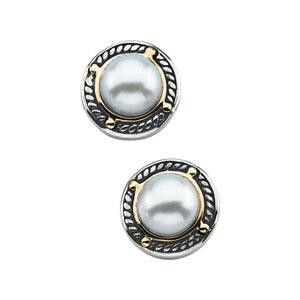 Cultured Pearl Earrings in 14k Yellow Gold & Sterling Silver