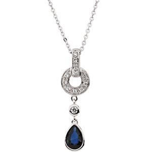 Blue Sapphire Diamond Necklace in 14k White Gold (0.08 Ct. tw.) (0.08 Ct. tw.)