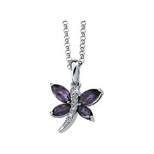 Amethyst Diamond Necklace in 14k White Gold (0.02 Ct. tw.) (0.02 Ct. tw.)