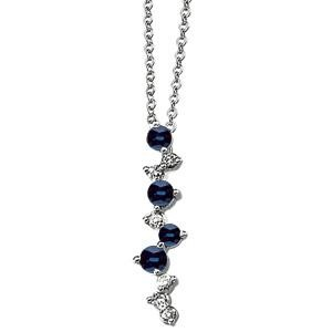 Sapphire Diamond Necklace in 14k White Gold (0.1 Ct. tw.) (0.1 Ct. tw.)