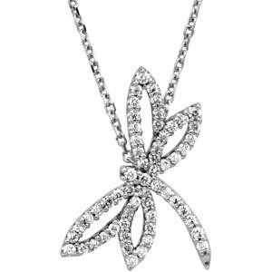 Diamond Dragonfly Necklace in 14k White Gold (0.33 Ct. tw.) (0.33 Ct. tw.)