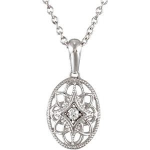 Diamond Fashion Necklace in Sterling Silver (0.03 Ct. tw.) (0.03 Ct. tw.)