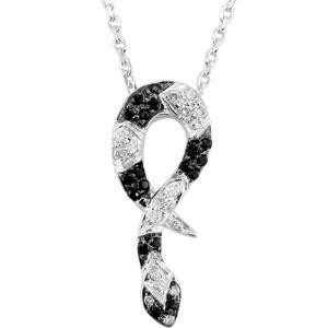 Black Spinel Diamond Necklace in Sterling Silver (0.1 Ct. tw.) (0.1 Ct. tw.)