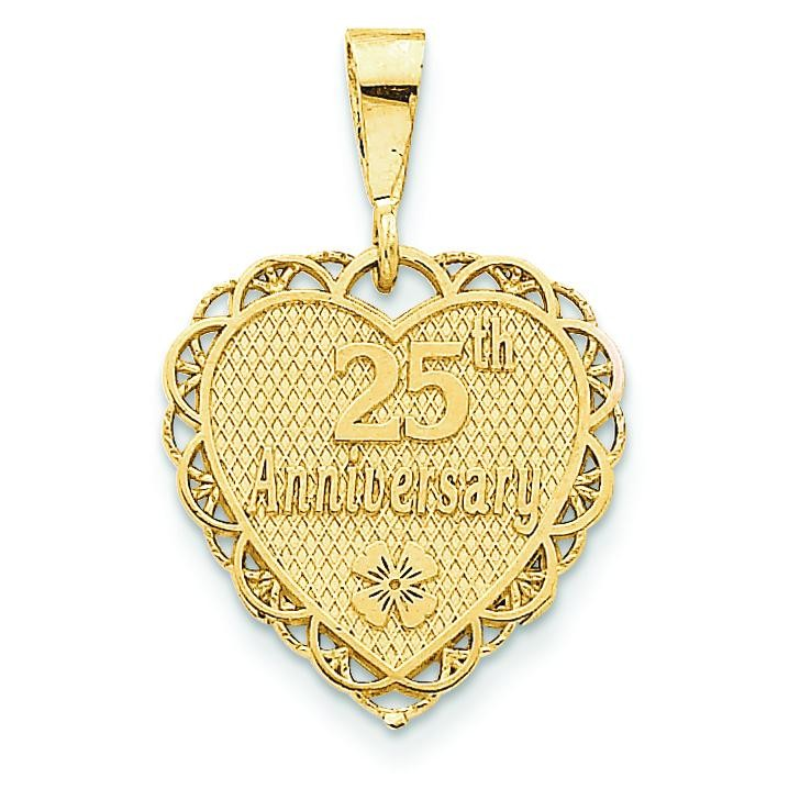 25th Anniversary Charm in 14k Yellow Gold