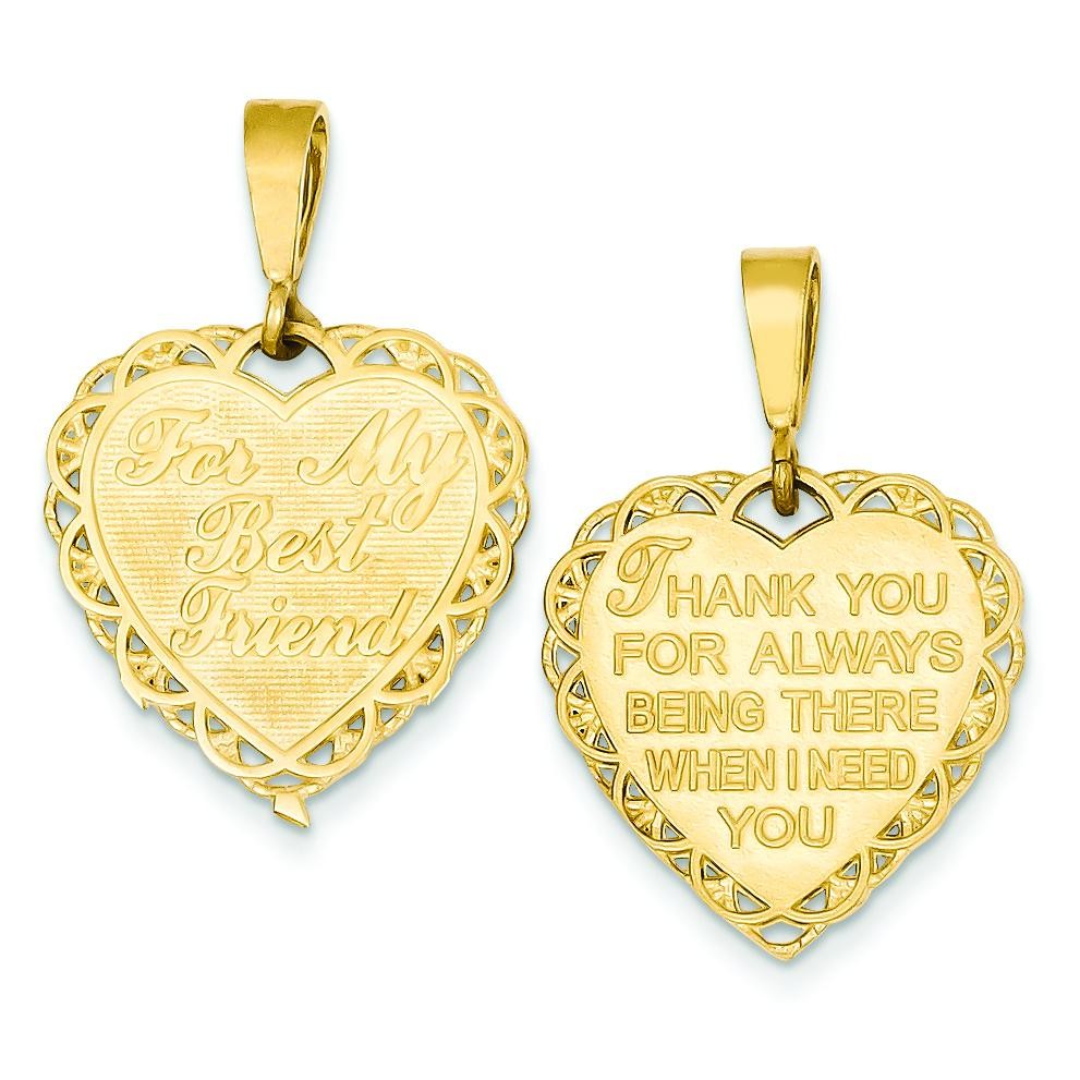 For My Best Friend Charm in 14k Yellow Gold