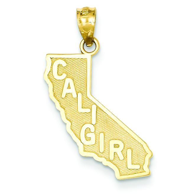 Cali Girl State Pendant in 14k Yellow Gold