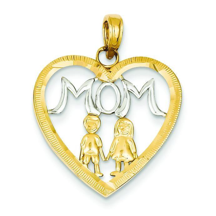 Mom Kids Heart Pendant in 14k Yellow Gold