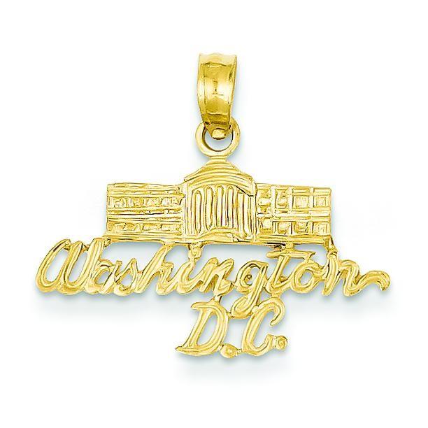 Washington DC White House Pendant in 14k Yellow Gold