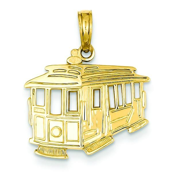 Cable Car Pendant in 14k Yellow Gold
