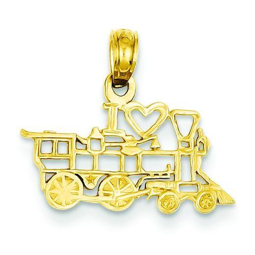 I Love Train Pendant in 14k Yellow Gold