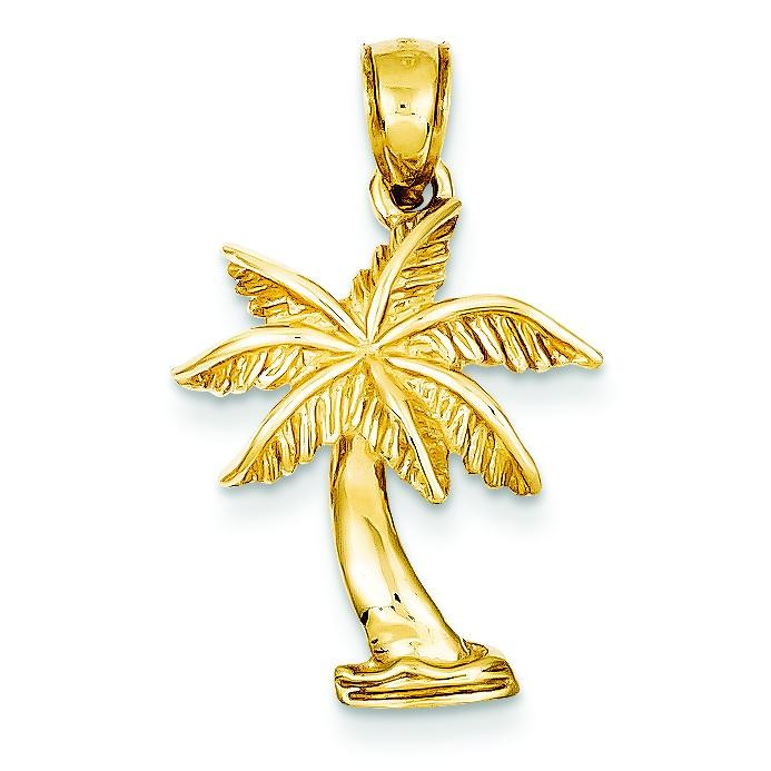 Palm Tree Pendant in 14k Yellow Gold