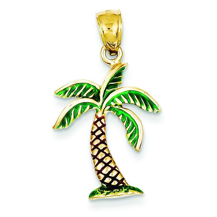 Enamel Palm Tree Pendant in 14k Yellow Gold