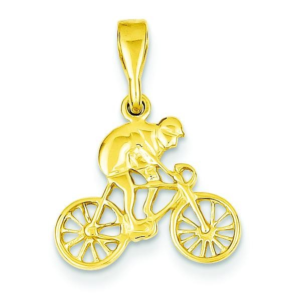 Cyclist Pendant in 14k Yellow Gold