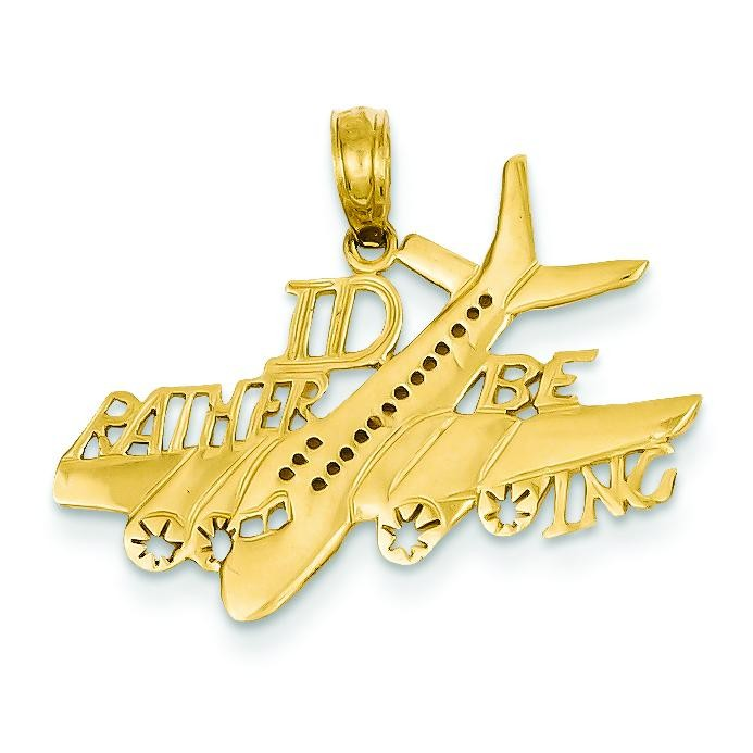 Id Rather Be Flying Pendant in 14k Yellow Gold