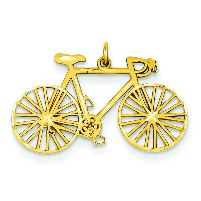Diamond Cut Bicycle Charm in 14k Yellow Gold