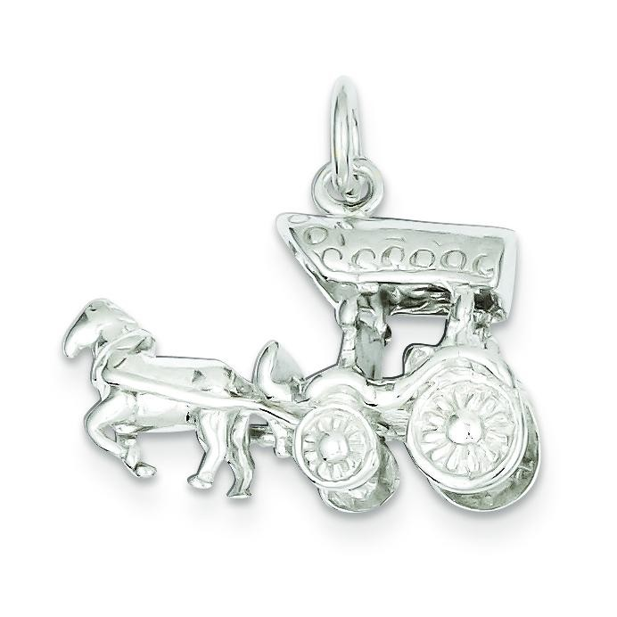 Horse Carriage Charm in Sterling Silver