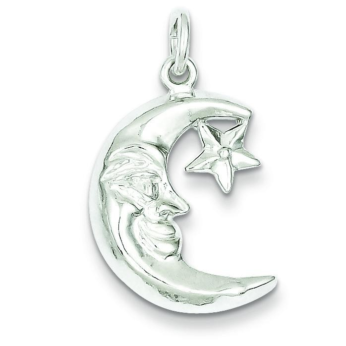Moon Star Pendant in Sterling Silver