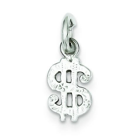 Dollar Sign Charm in Sterling Silver