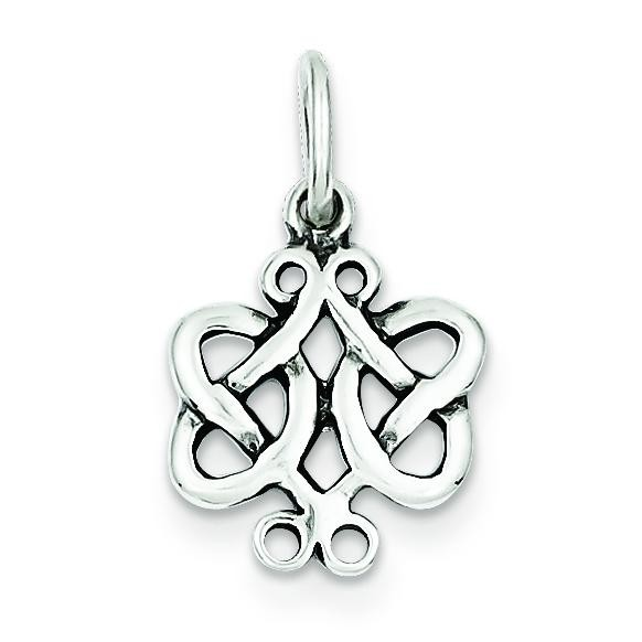 Antiqued Scroll Celtic Knot Charm in Sterling Silver