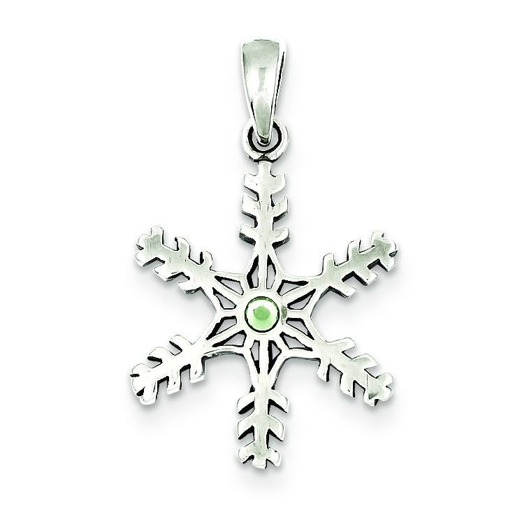 Antique Snowflake Light Green Stone Pendant in Sterling Silver