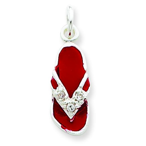 CZ Red Flip Flop Charm in Sterling Silver