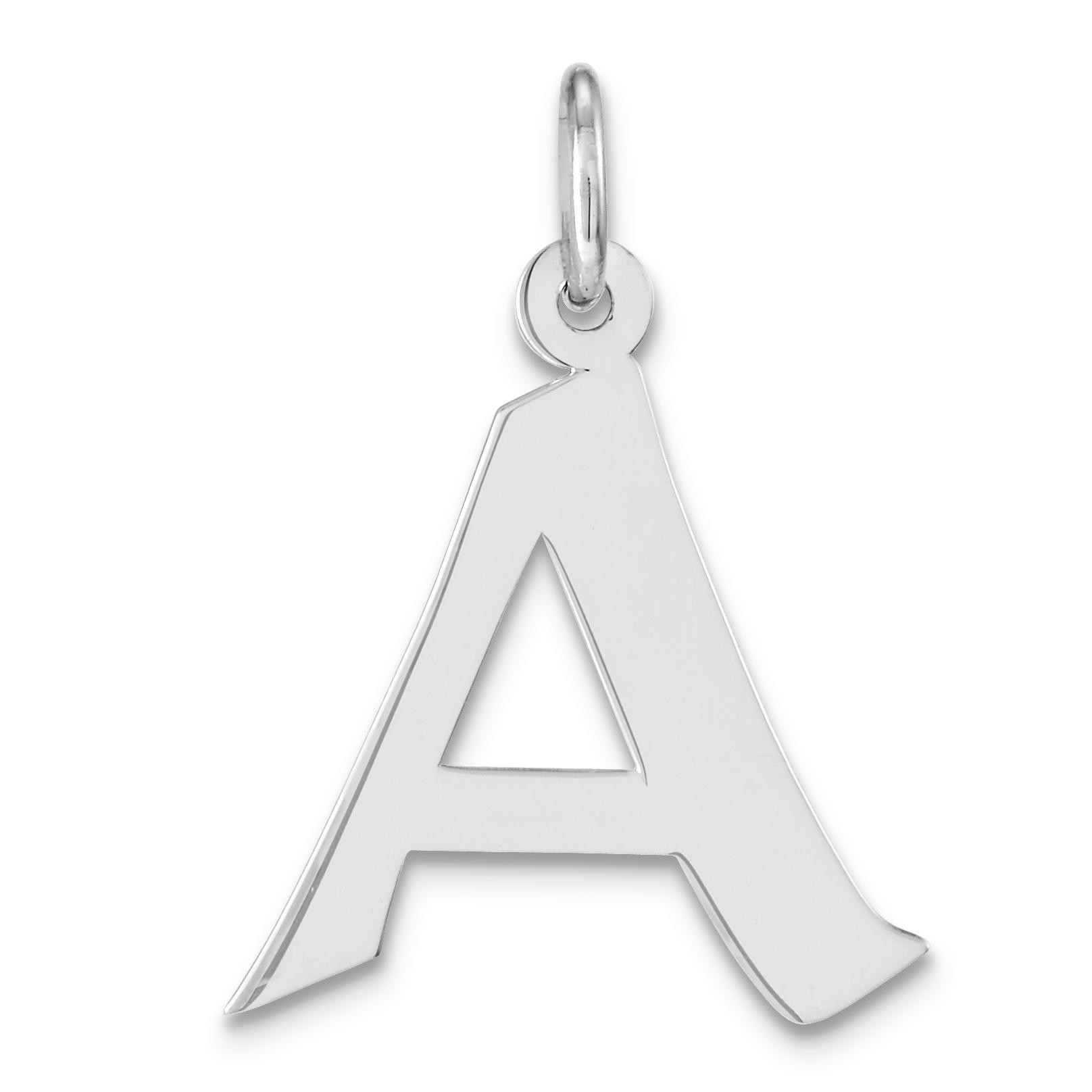 Medium Artisan Block Initial A Charm in Sterling Silver