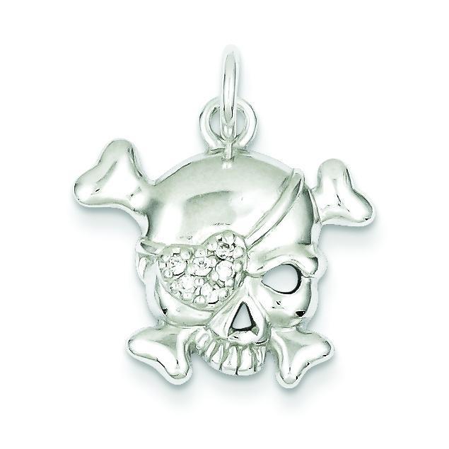 CZ Skull Charm in Sterling Silver