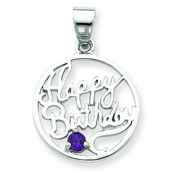 Amethyst Happy Birthday Pendant in Sterling Silver