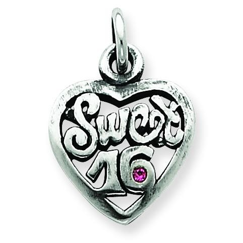 Antiqued Sweet Heart Charm in Sterling Silver