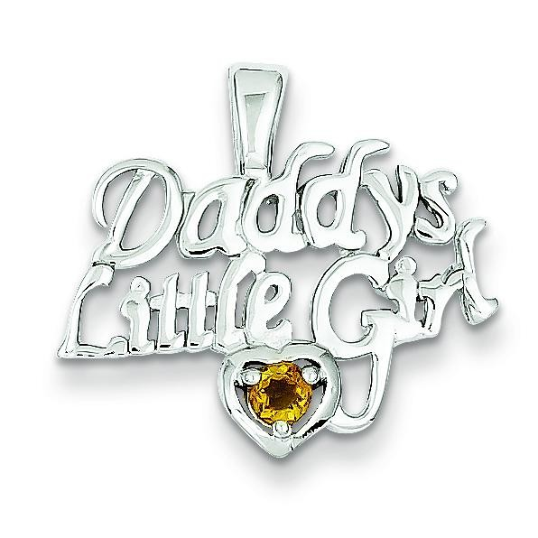 Citrine Daddy Little Girl Pendant in Sterling Silver