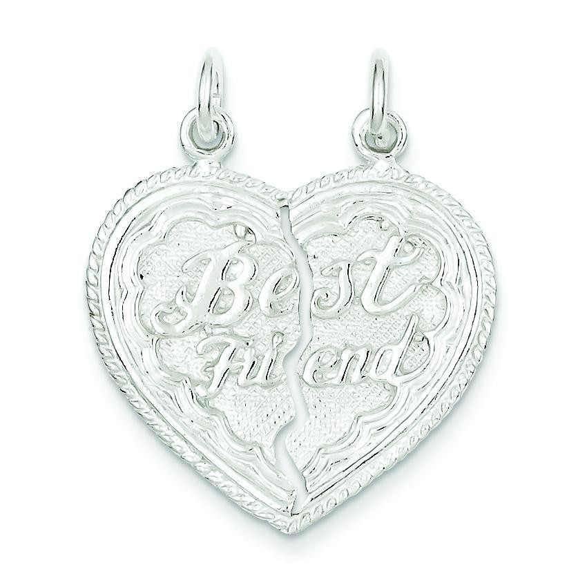Best Friend Piece Break Apart Heart Charm in Sterling Silver