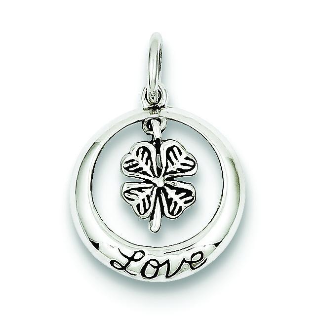 Antiqued Shamrock Love Charm in Sterling Silver