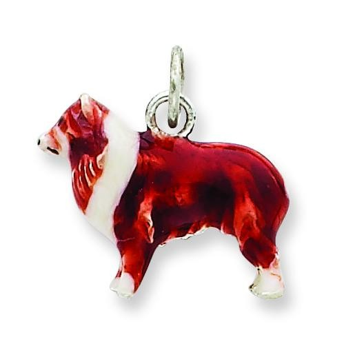 Small Collie Charm in Sterling Silver