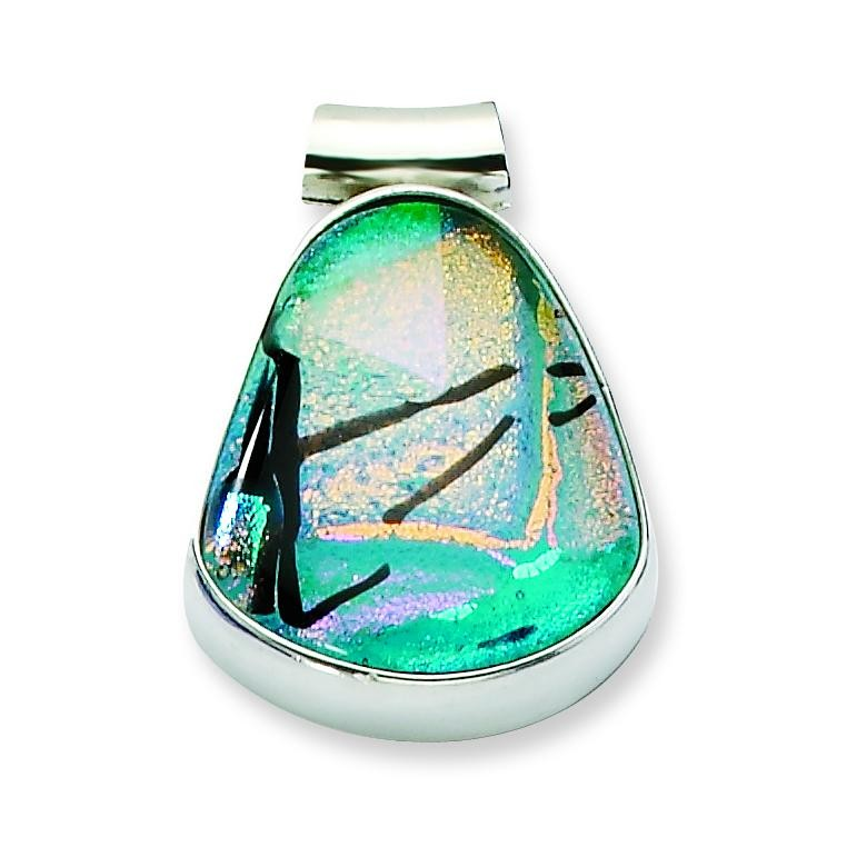 Teal Dichroic Glass Teardrop Pendant in Sterling Silver