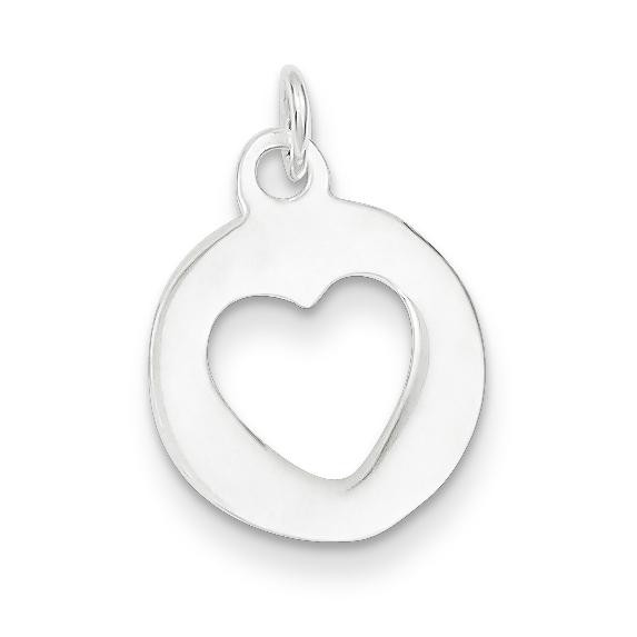Circle Heart Charm in Sterling Silver