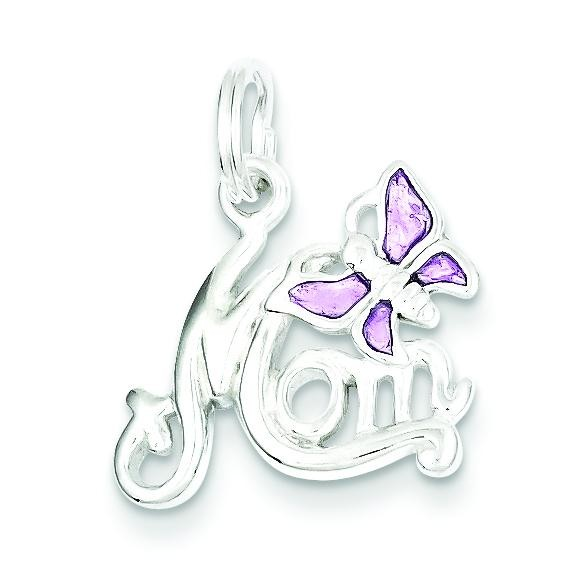 Mom Butterfly Charm in Sterling Silver
