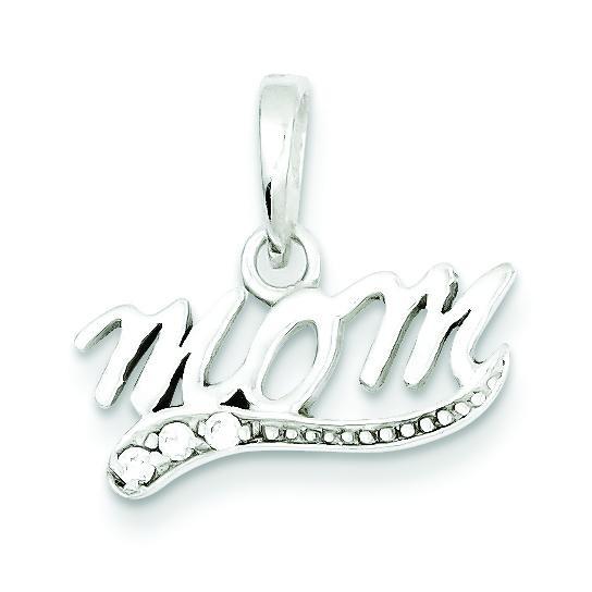 CZ Mom Pendant in Sterling Silver