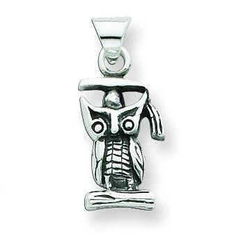 Antiqued Graduation Owl Pendant in Sterling Silver